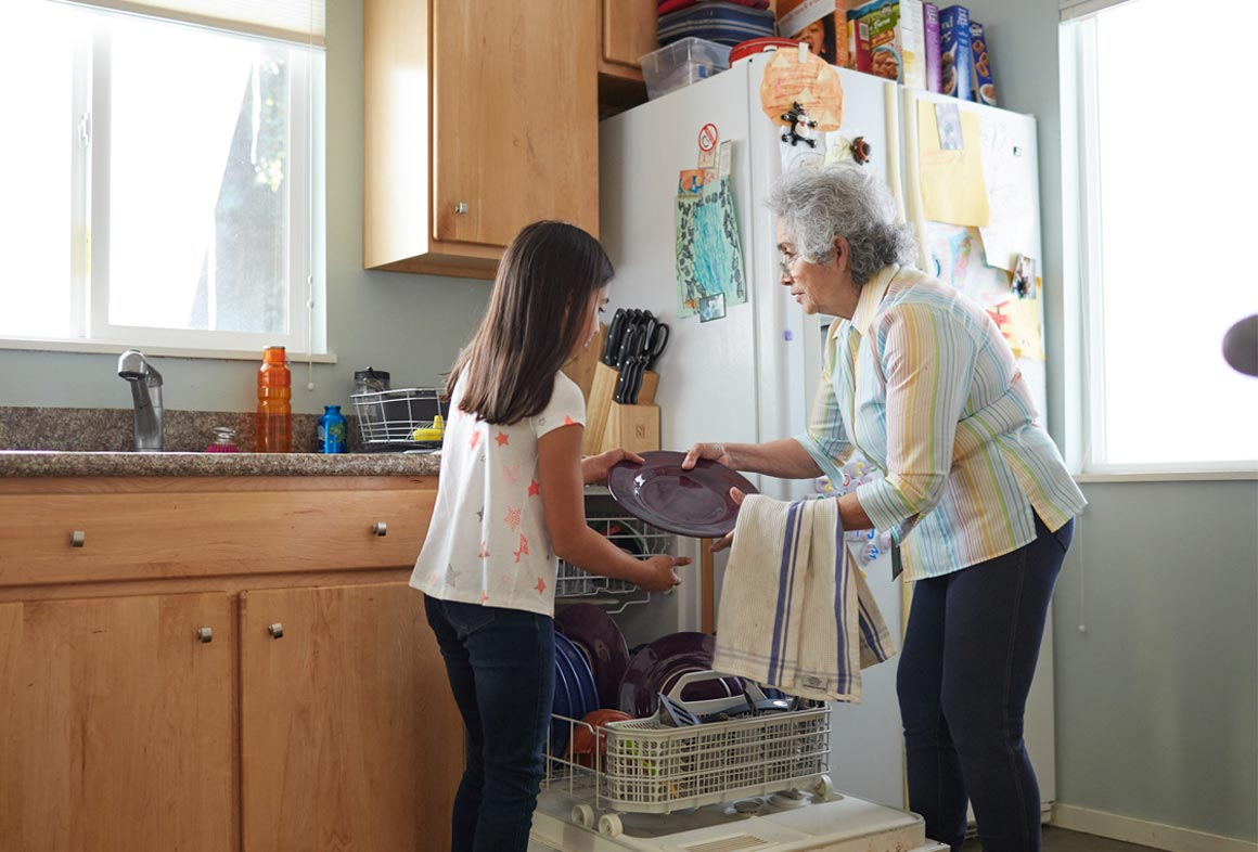 Share tips about running full loads of dishes and laundry