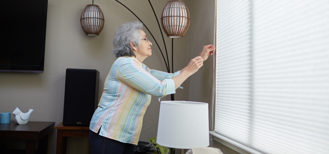 Open blinds during the day and close them at night