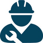 person wearing a hard hat holding a wrench icon